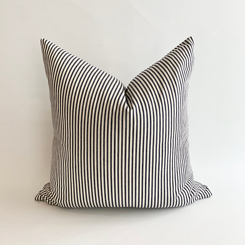 Navy and White Stripe Cushion