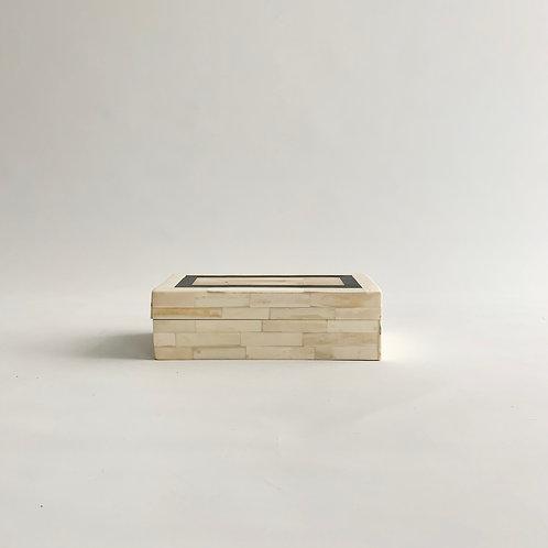 Black + White Rectangle Bone Inlay Box