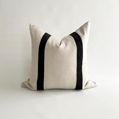 Oatmeal Linen with Black Leather Stripe Cushion