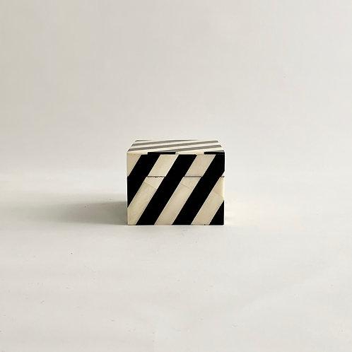 Black + White Stripe Inlay Box