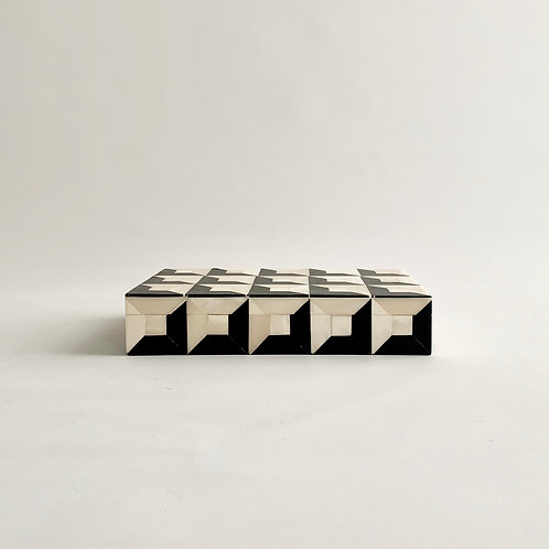 Black + White Geometric Bone Inlay Box