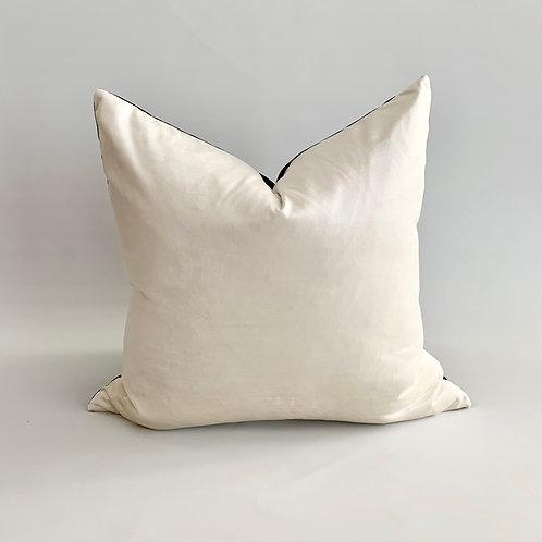 Reversible Black/White Velvet Cushion