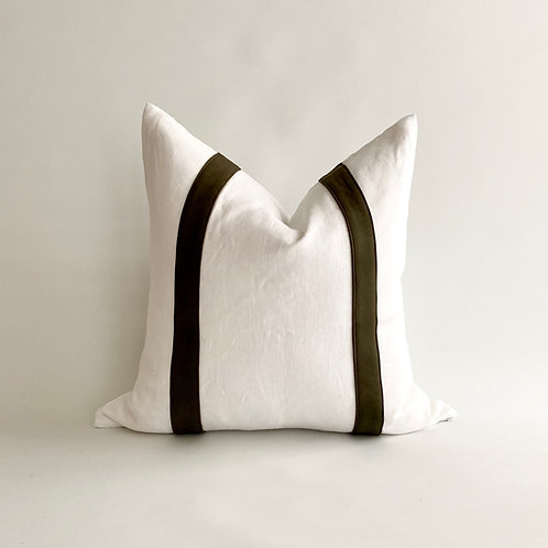 White Linen with Olive Leather Stripe Cushion
