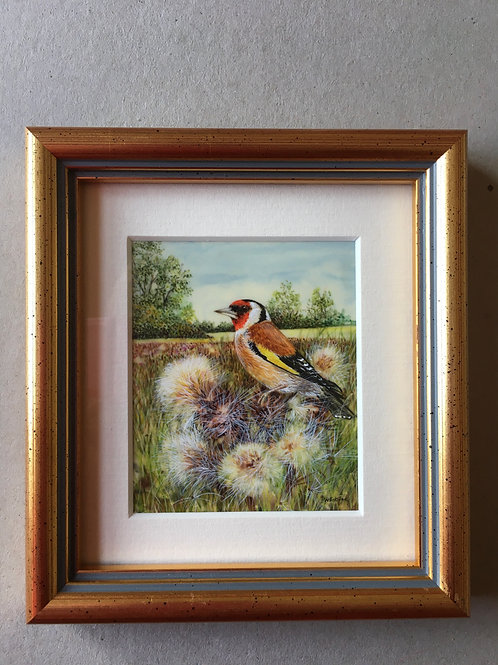 Goldfinch on Thistles Miniature