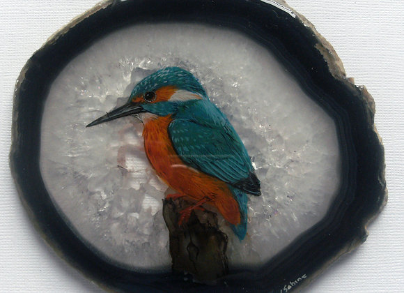 Kingfisher on agate