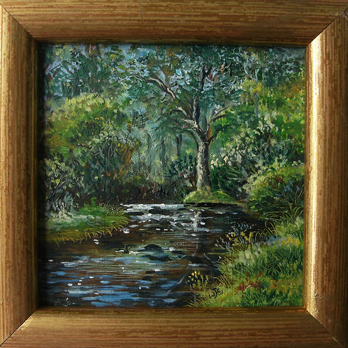 Woodland stream, oil on copper