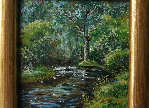 Woodland stream, oil on copper