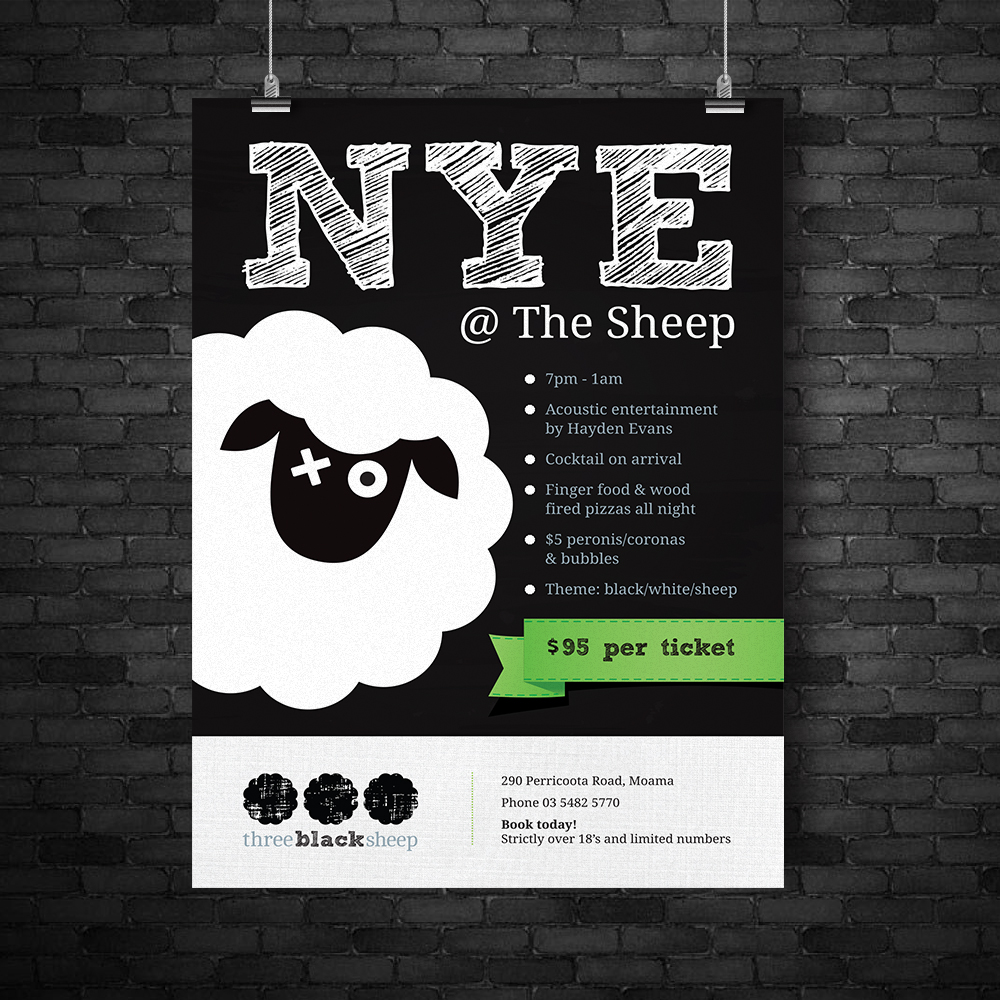 Three Black Sheep poster design