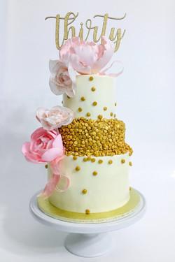 Pink & Gold Thirty Cake