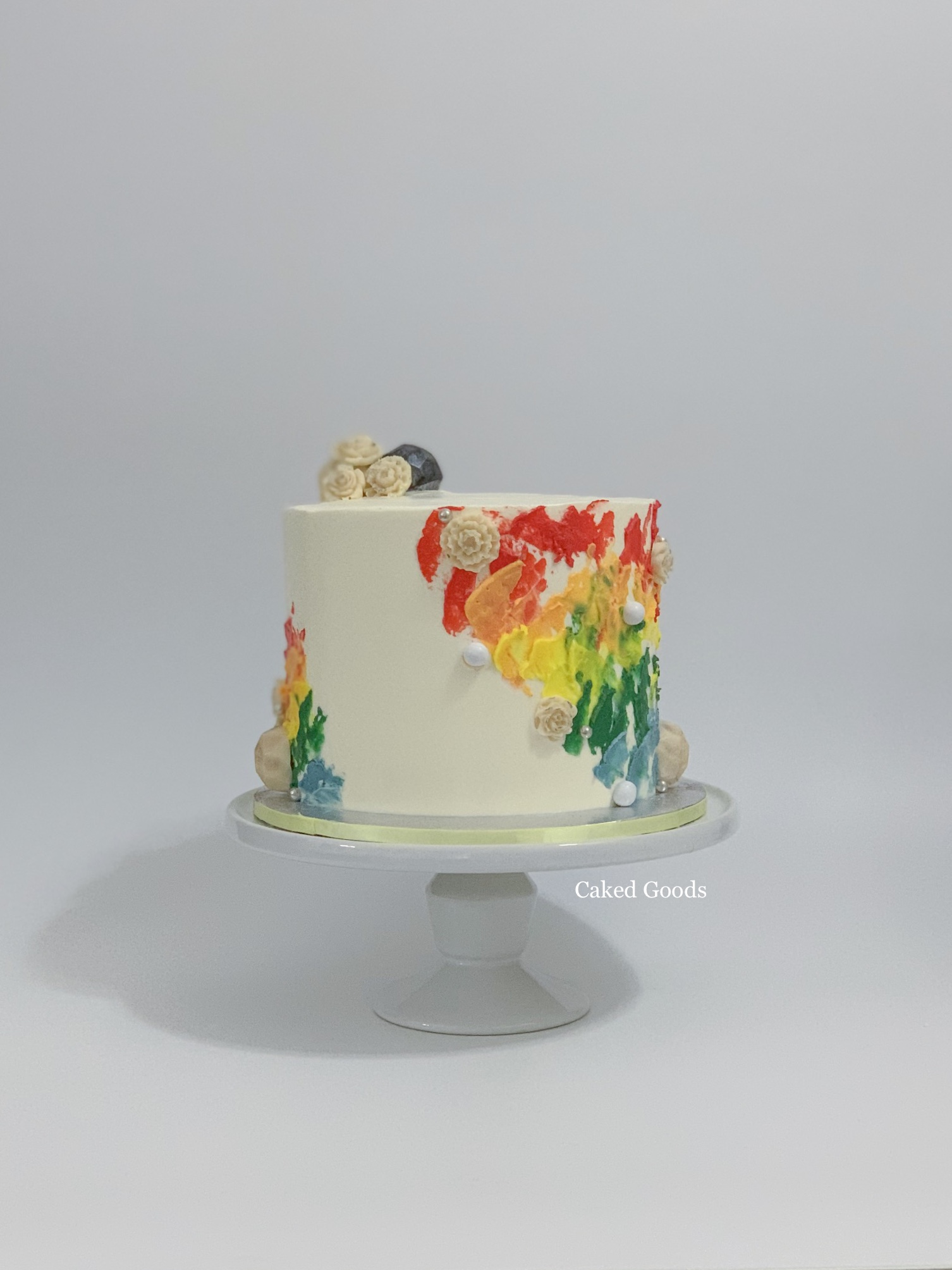 Painted Rainbow Cake