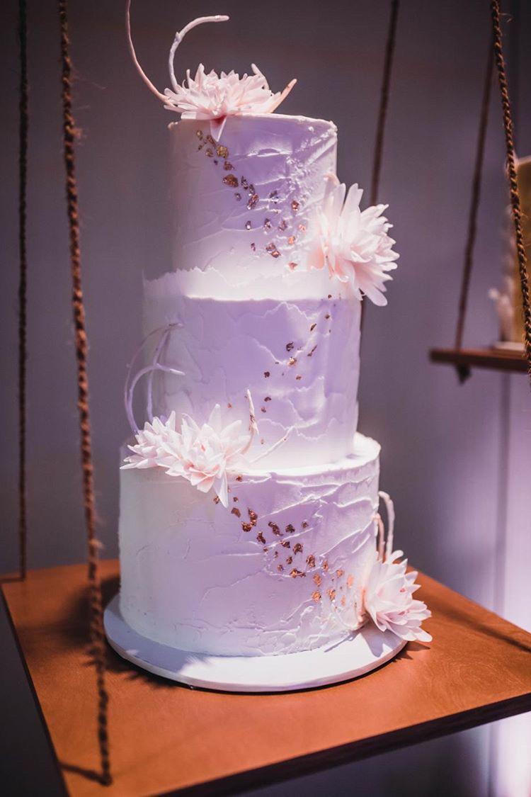 White Dahlia Tiered Cake