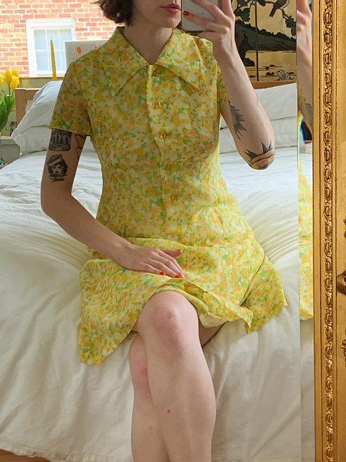 Handmade Citrus Yellow Patterned Dress
