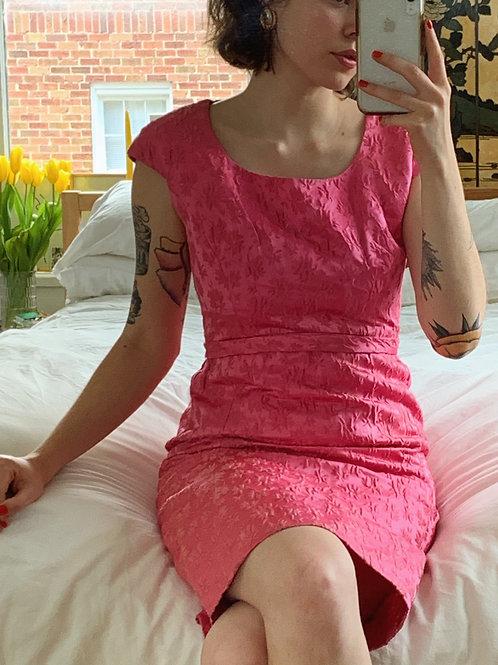 Hot Pink Brocade Mini Dress