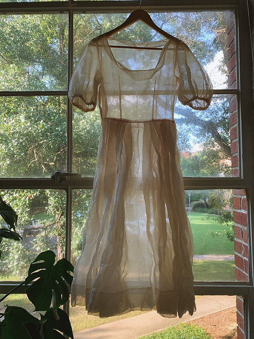 Antique Organza Puffy Sleeve Dress
