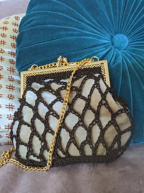 Crochet and Velvet Handbag