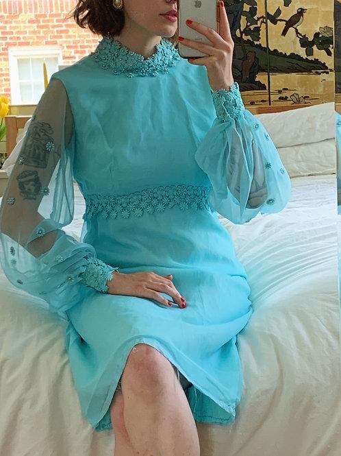 Floret and Rhinestone Blue Dress