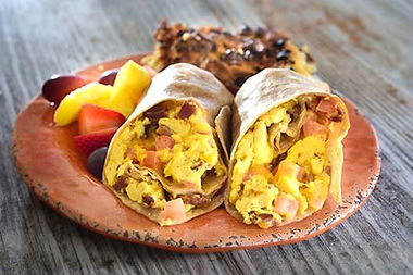 Breakfast burritos filled with egg and sausage