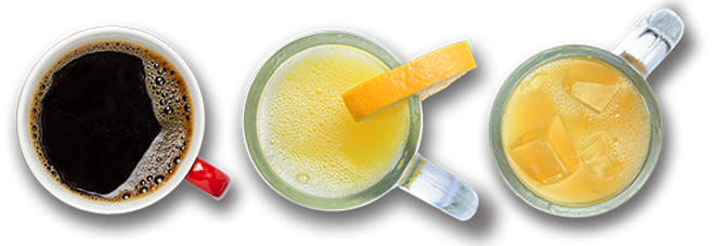 Special blend coffee, fresh-squeezed orange juice in a frosted mug, unfiltered apple juice