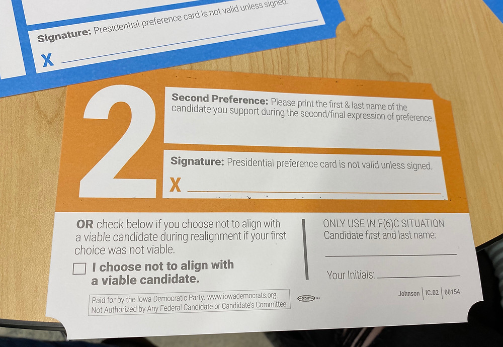 """The back of the not-a-ballot """"preference card"""" that is the paper trail in every precinct."""
