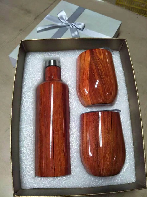 Sainless Steel Wine Bottle with 2-12oz Wine Tumbler Double Wall 3pcs/set