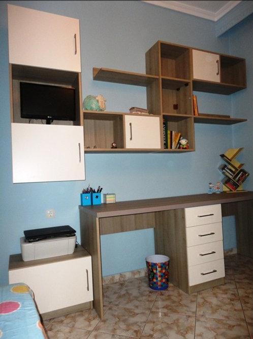 Διπλό γραφείο μελαμίνης με συνθεση κρεμαστη