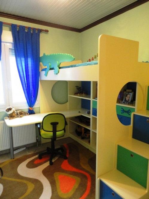 Κουκέτα με γραφείο και ραφιέρα