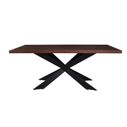Τραπέζι με σιδερένια βάση και επιφάνεια απο ξυλο σιμίδας