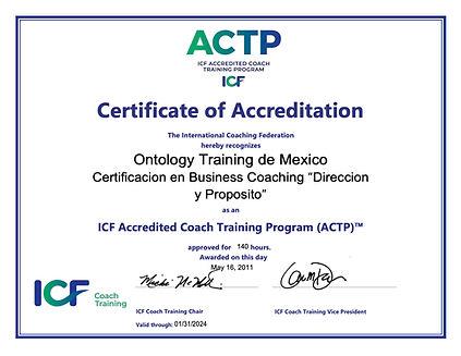 Ontology Training de Mexico Certificate.