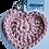 Thumbnail: Herzförmiger Schlüsselanhänger, ROSA, gehäkelt, handmade
