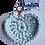 Thumbnail: Herzförmiger Schlüsselanhänger, MINT, gehäkelt, handmade