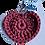 Thumbnail: Herzförmiger Schlüsselanhänger, WEINROT, gehäkelt, handmade