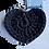 Thumbnail: Herzförmiger Schlüsselanhänger, SCHWARZ, gehäkelt, handmade