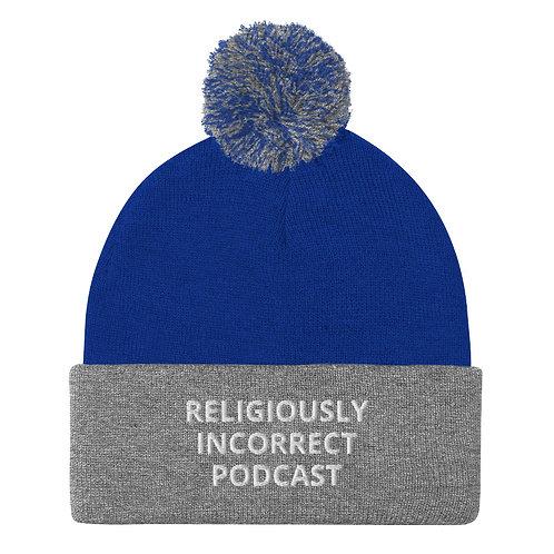 Religiously Incorrect Podcast Pom-Pom Beanie Royal/Heather Grey