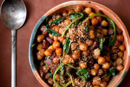 Crunchy Chickpeas with Chorizo and Spinach