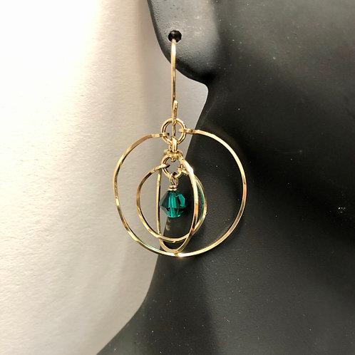 Emerald Tri-Circle Earrings