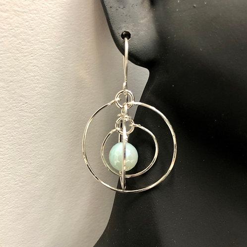 Plated Agate Tri-Circle Earrings