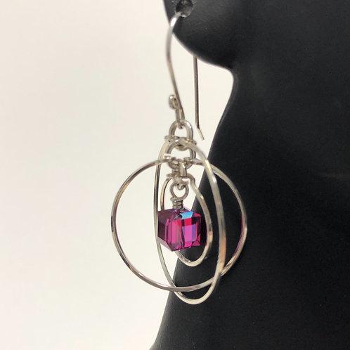 Fuchsia Tri Circle Earrings