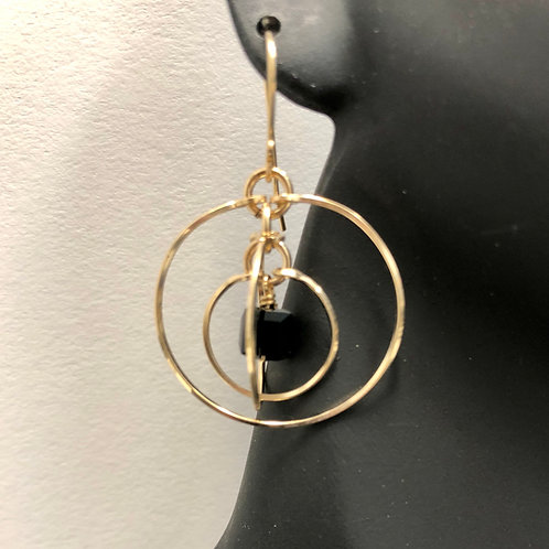 Jet Tri-Circle Earrings