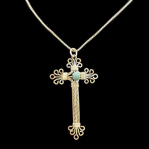 Cross Pendant w/Turquoise bead
