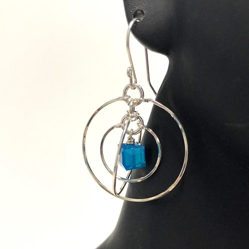 Caribbean Blue Opal Tri-Circle Earrings