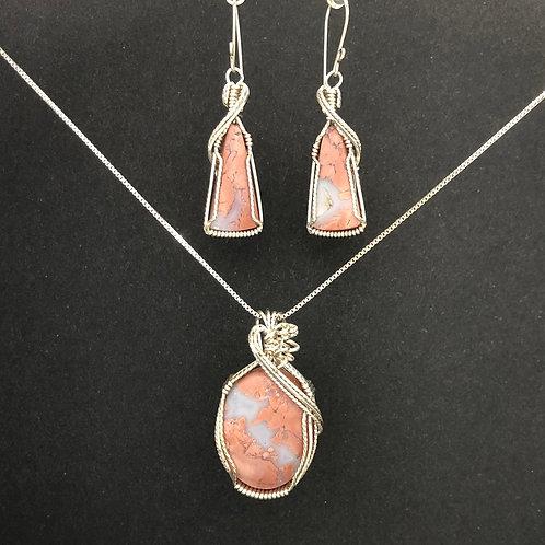 Pink Chalcedony Pendant / Earring Set