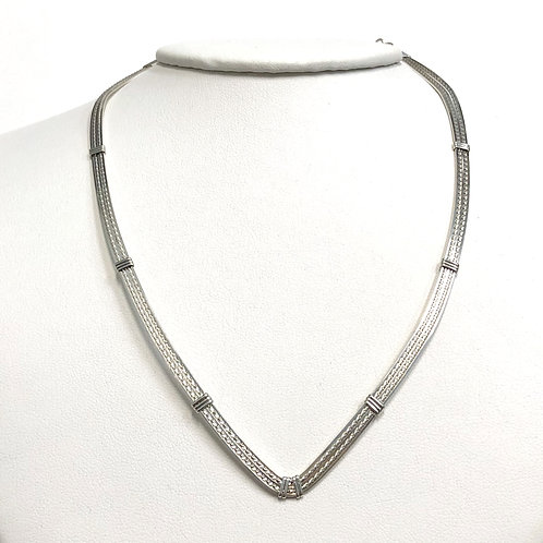 "Choker - 16"" V Neck Sterling Silver"