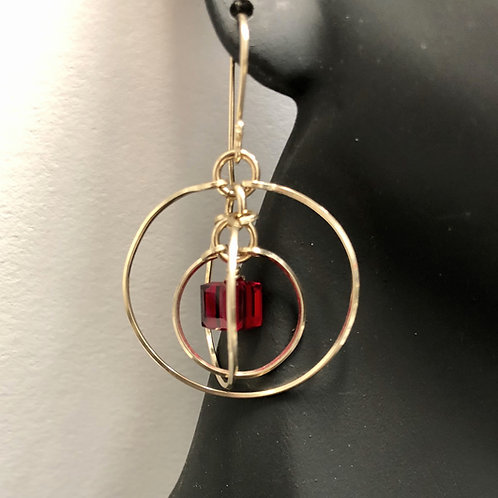 Garnet Tri-Circle Earrings