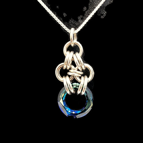 Bermuda Blue Cosmic Chainmaille Pendant