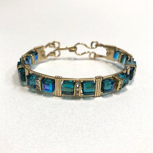 Caribbean Blue Opal Cube Bracelet