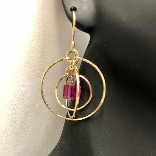 Fuchsia Tri-Circle Earrings