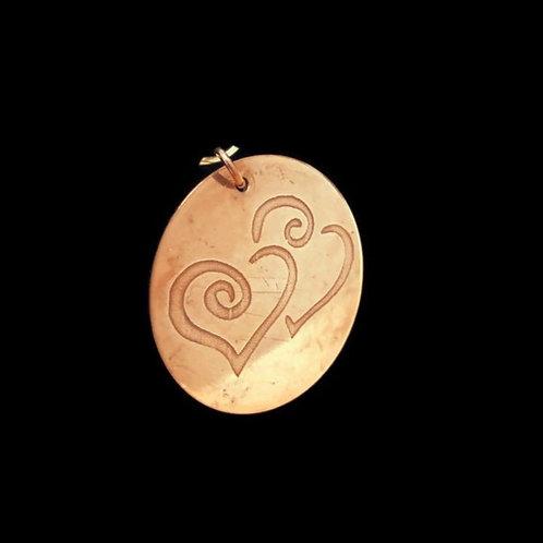 Double Hearts Copper Pendant