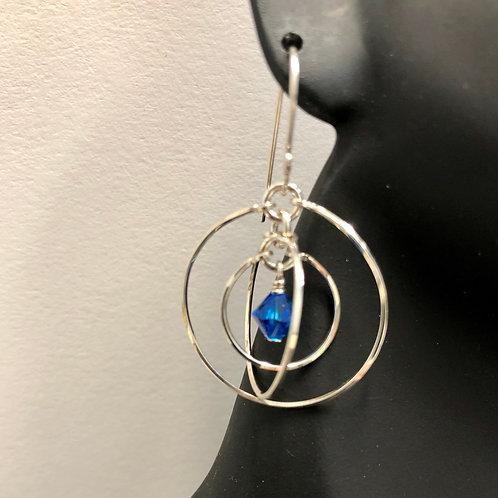 Capri Blue Tri-Circle Earrings