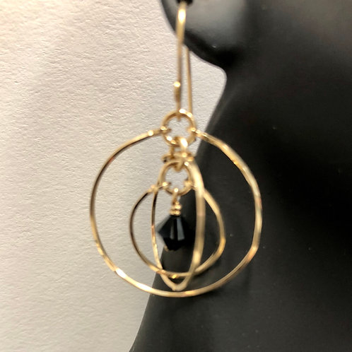 Jet Tri-Circle Earrings