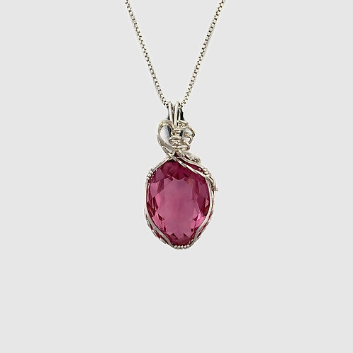 Pink Oval Crystal Pendant